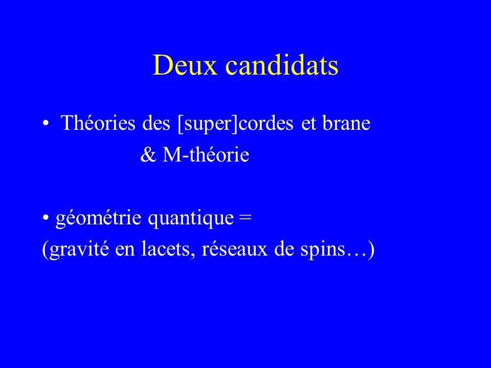 Deux candidats Théories des [super]cordes et brane & M-théorie